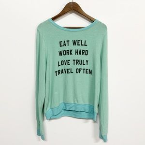Wildfox | Eat Well Work Hard Pistachio Jumper L